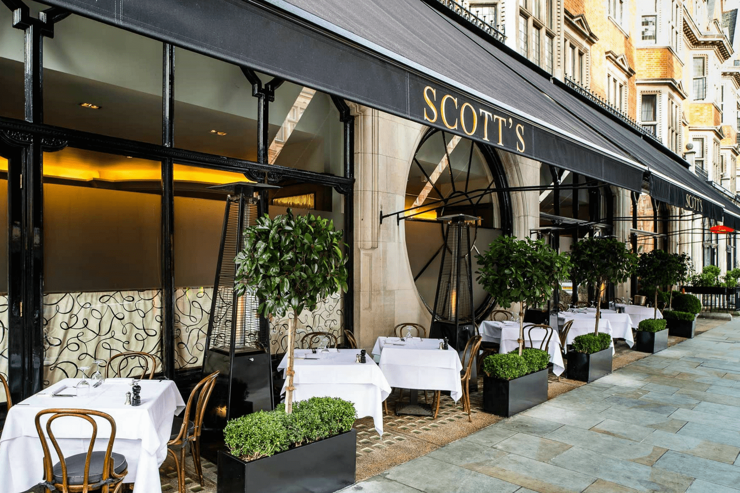 Scott's terrace, outside dining in London, Fish and Seafood Restaurant