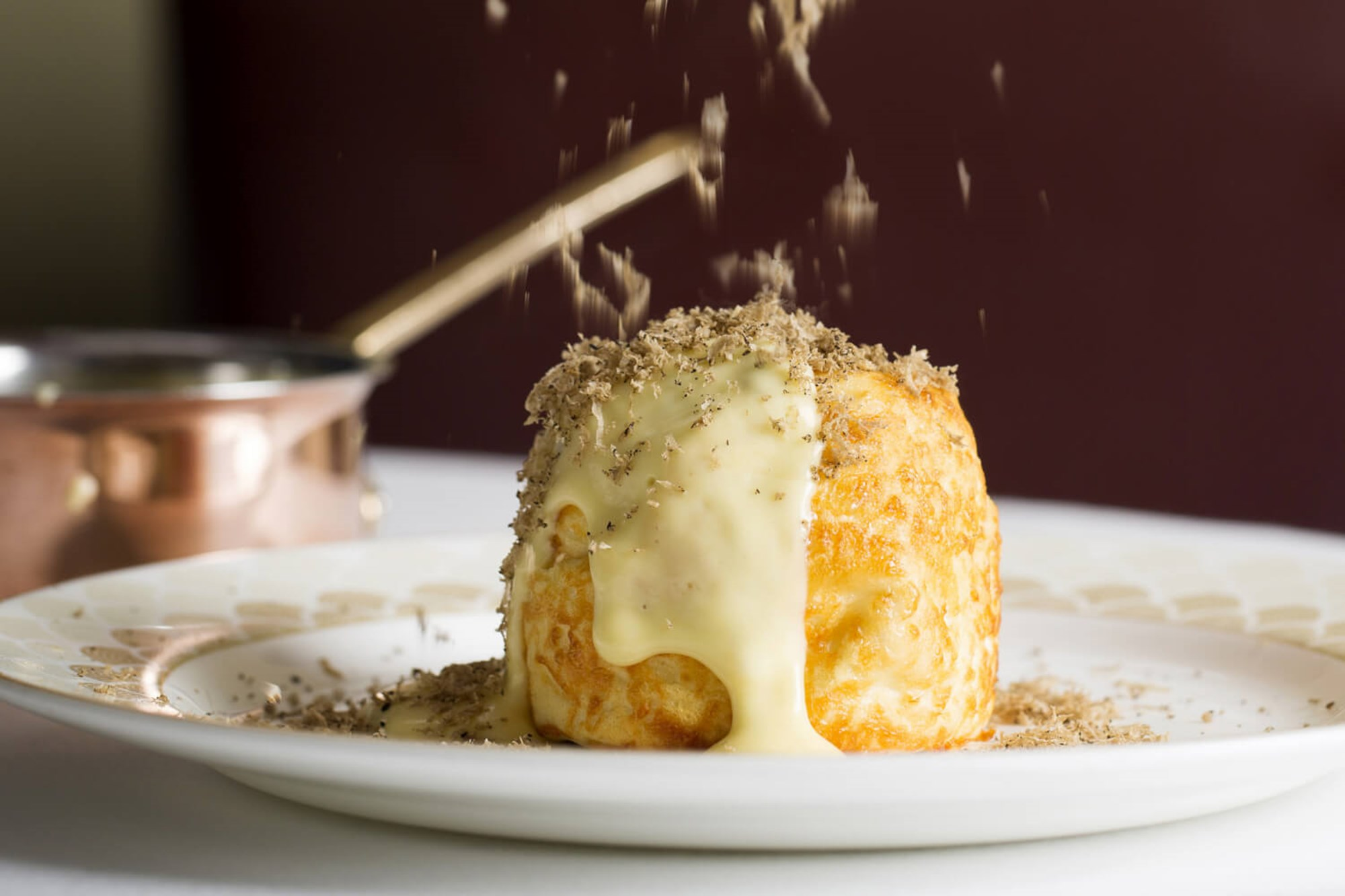 Dinner at Scott's in Mayfair, Scott's Twice baked Keen's cheddar soufflé with black truffle