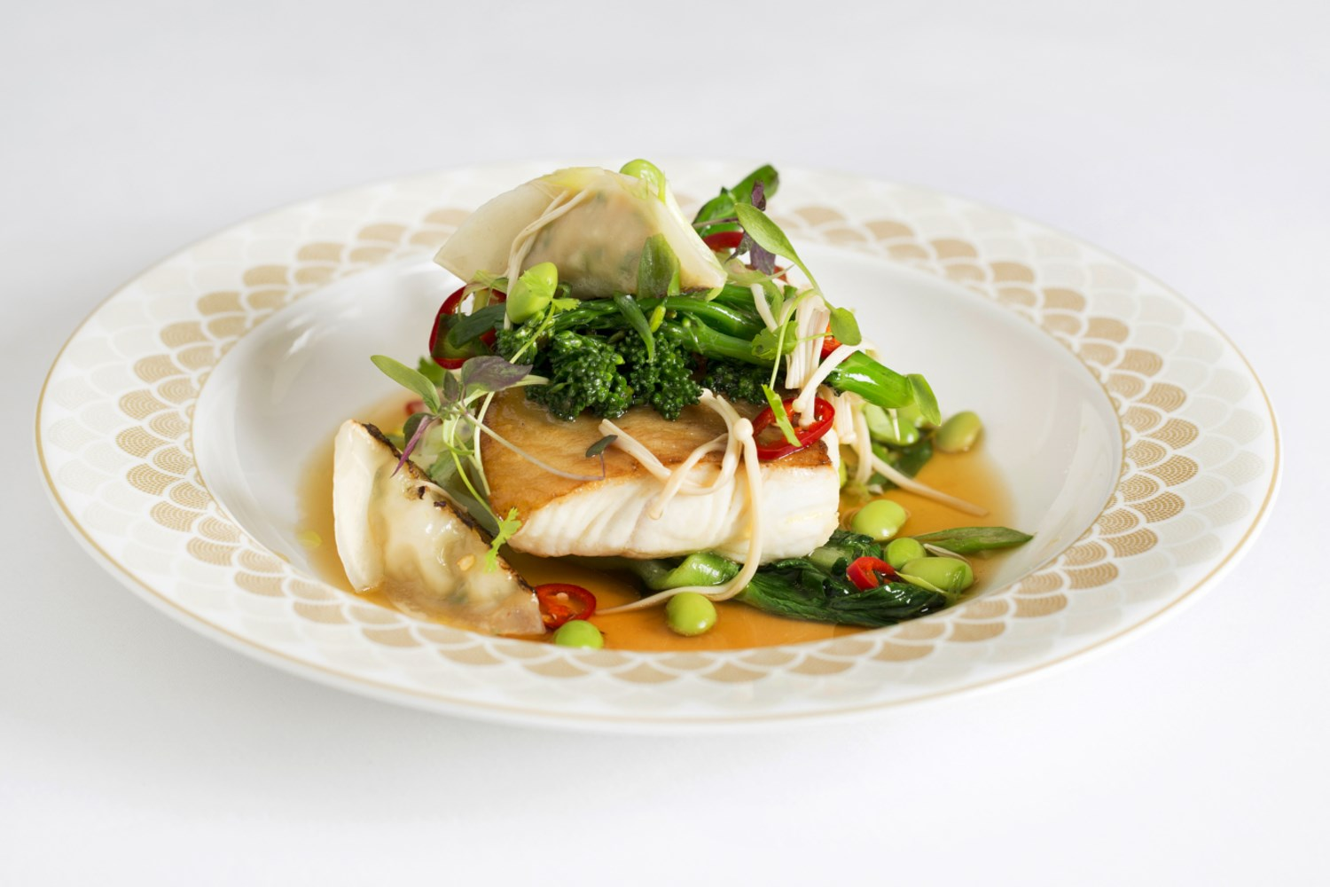 scotts fillet of halibut shrimp gyoza sprouting broccoli edamame beans dashi