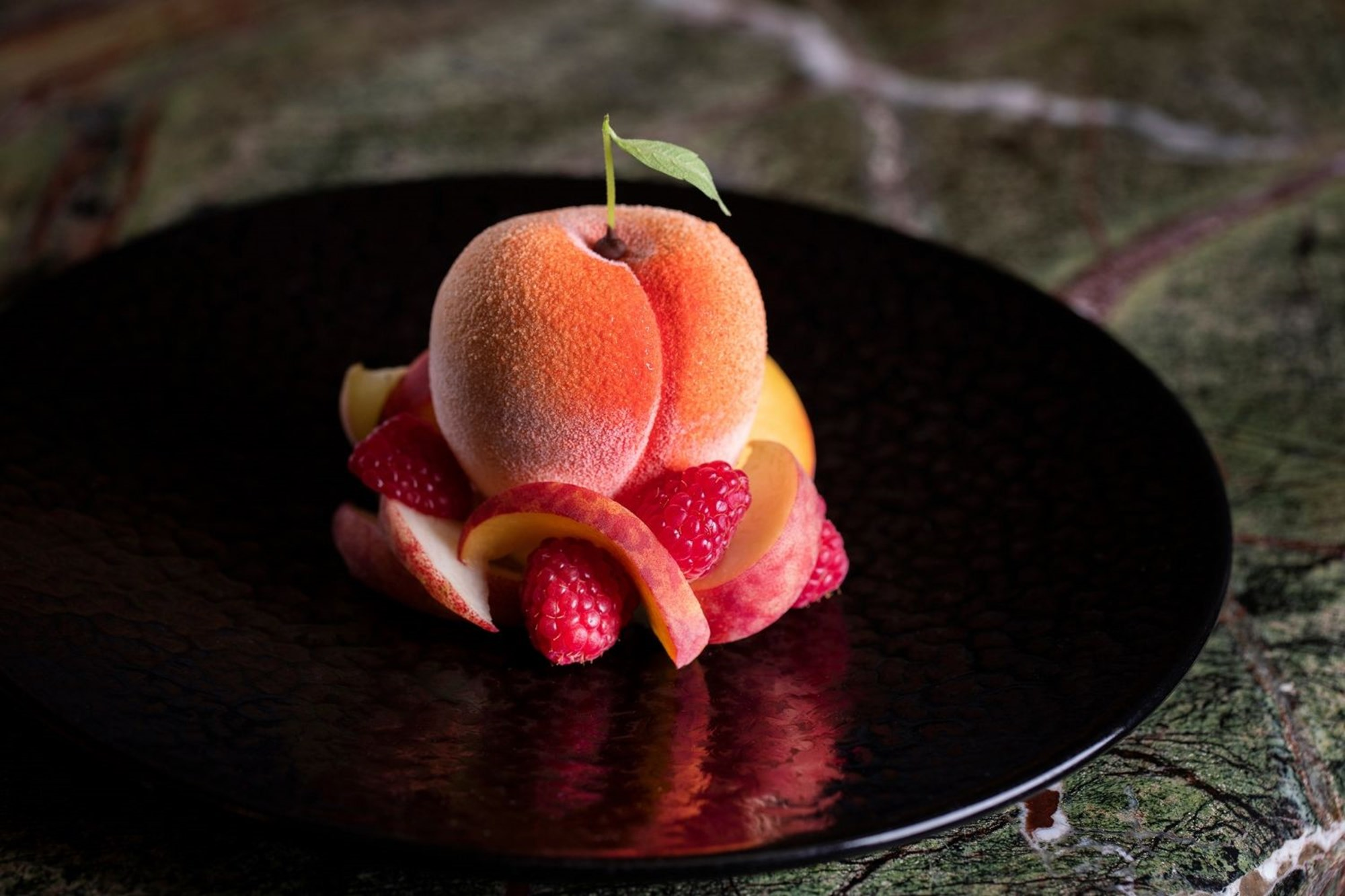 Peach dessert available at Scott's restaurant in Central London